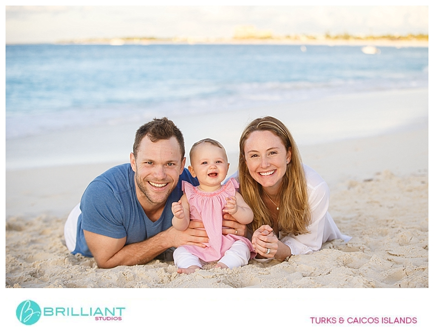 small family doing a beach portrait in turks and caicos