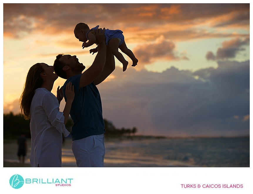 sunset family photo in turks and caicos