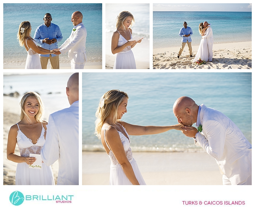 bride and groom getting married at the beach in turks and caicos