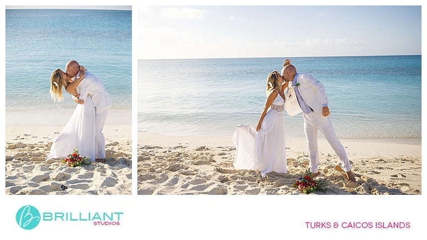 bride and groom after their grace bay beach wedding