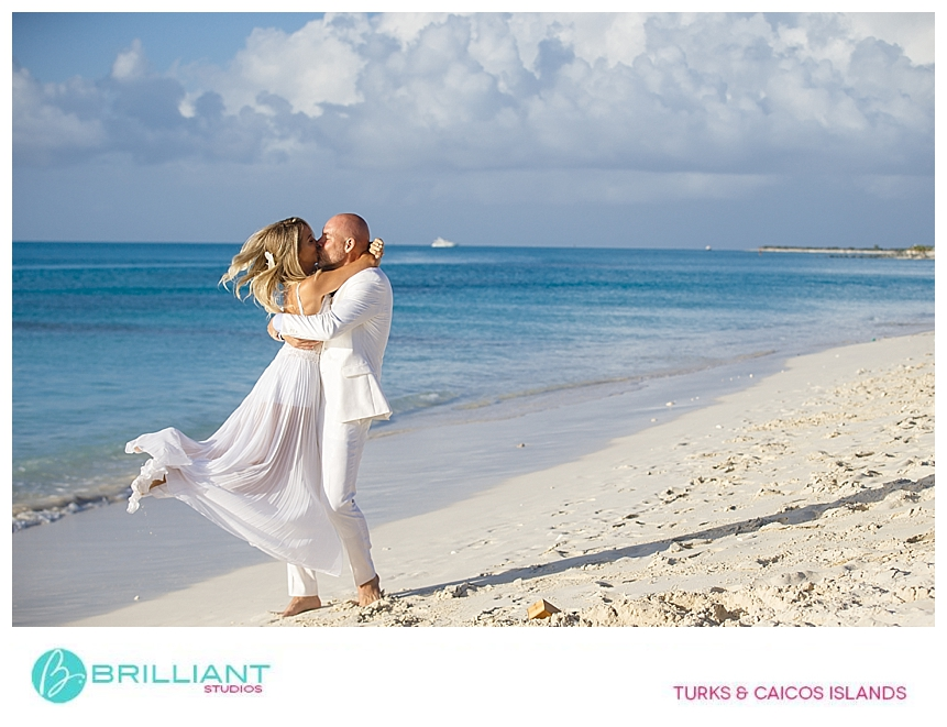 bride and groom on Grace Bay