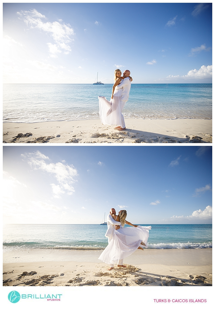 bride and groom after their turks and caicos beach wedding