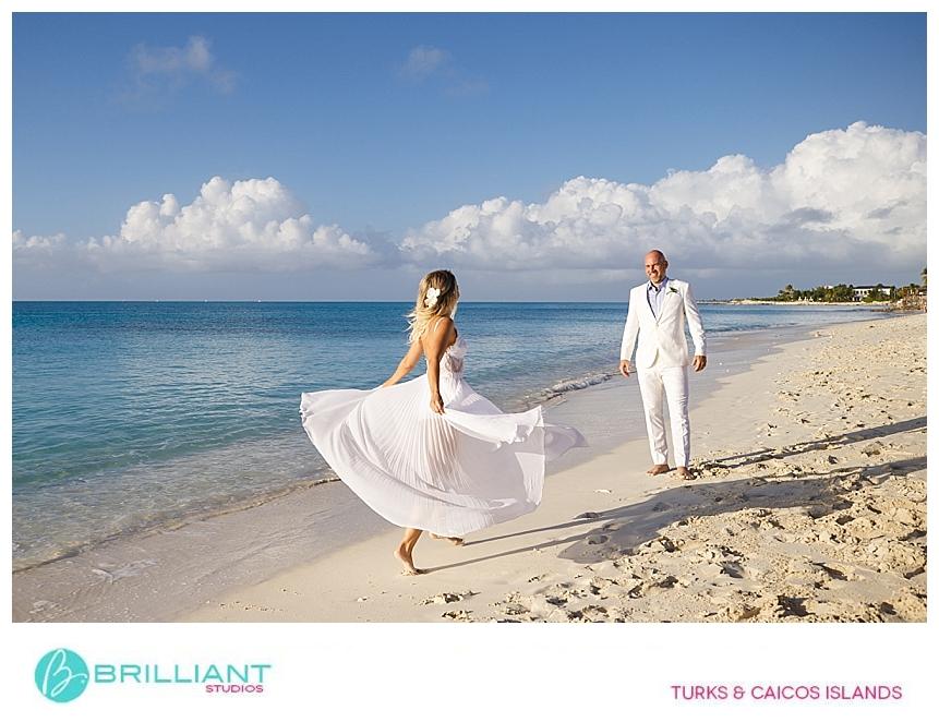 bride having fun on grace bay beach