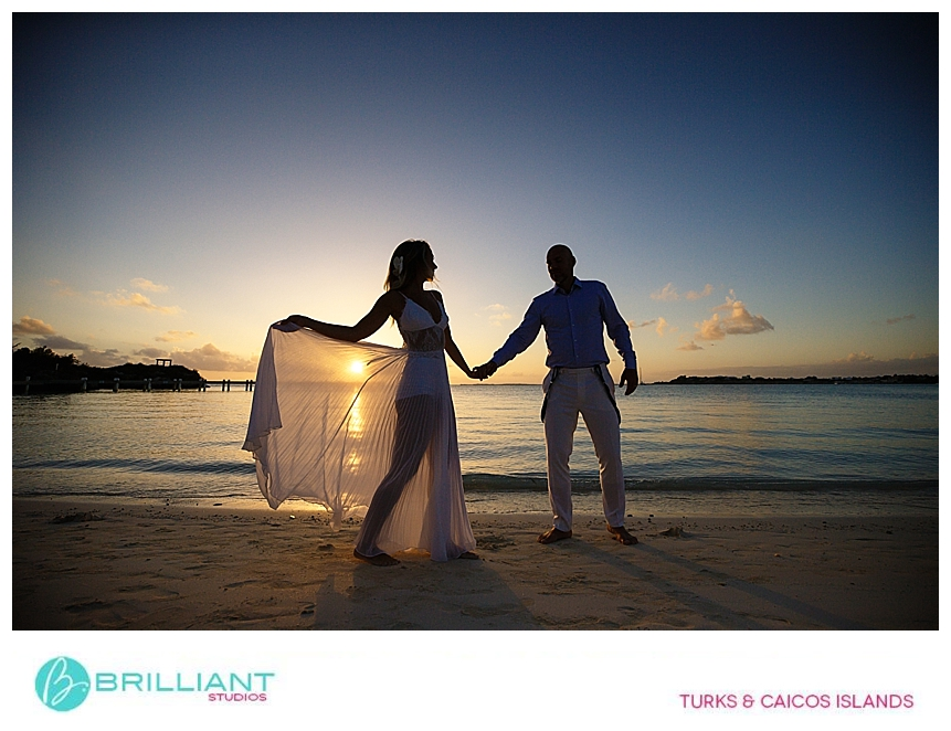 sunset with wedding couple in the turks and caicos
