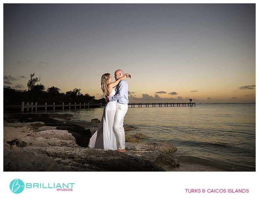 bride and groom during sunset in the Turks and Caicos