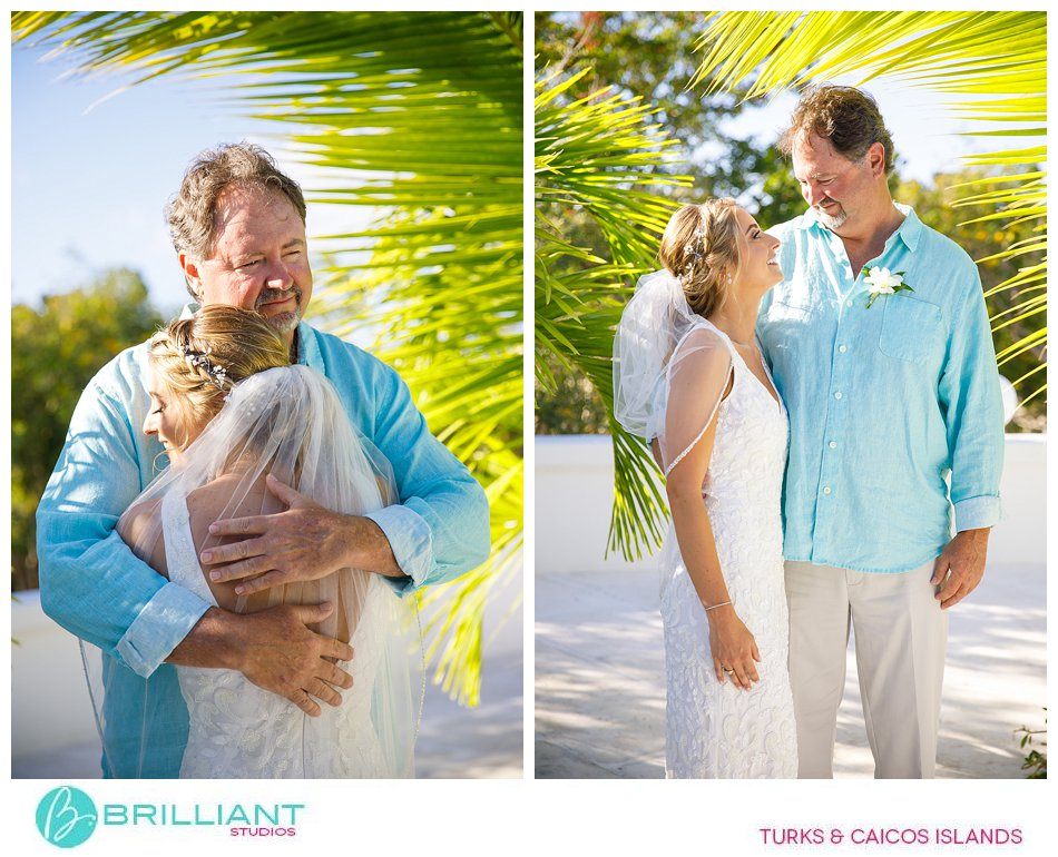 first look bride and dad turks and caicos islands
