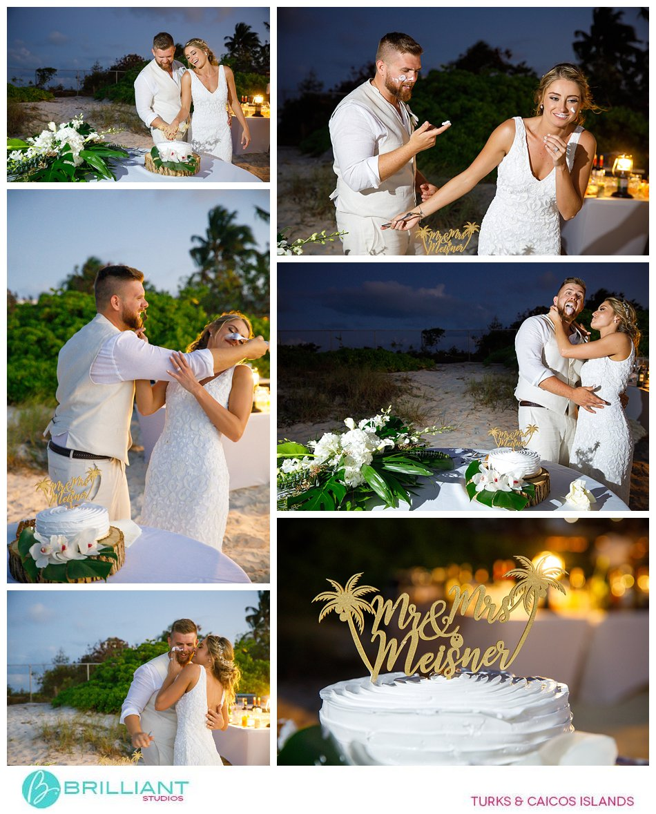 Turks and Caicos Cake cutting at wedding