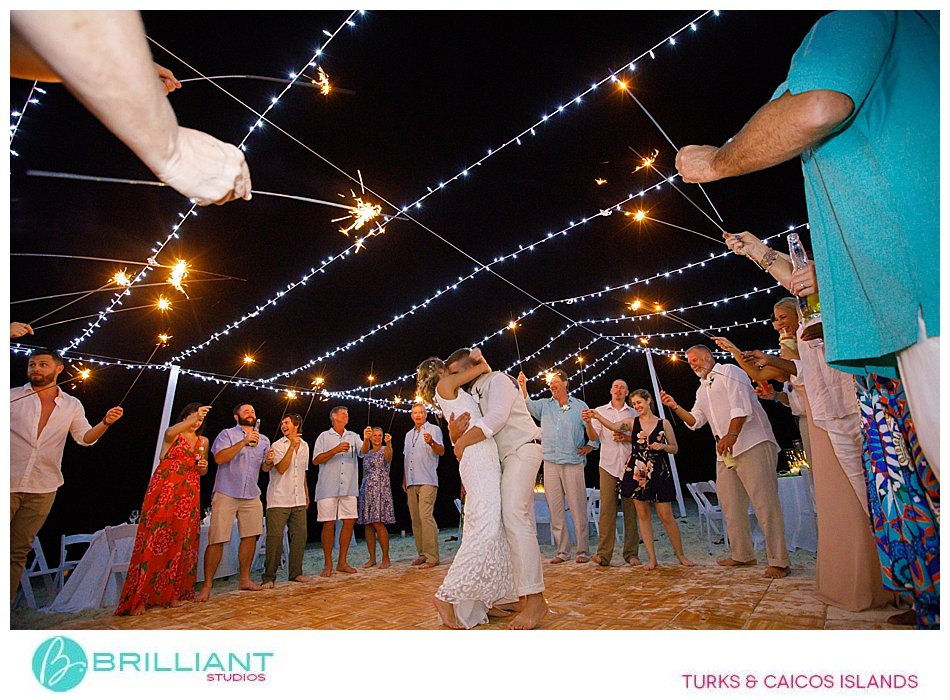 Turks and Caicos wedding with sparklers