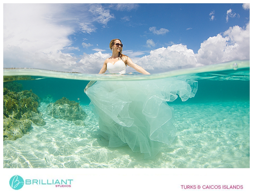 bride doing an underwater photo shoot in Turks and Caicos