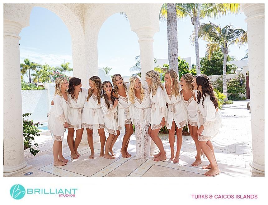 bridesmaids at a turks and caicos destination wedding