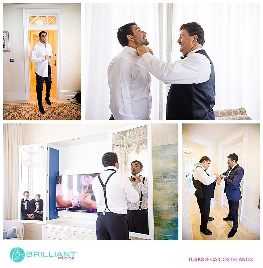 groom getting ready during a turks and caicos destination wedding