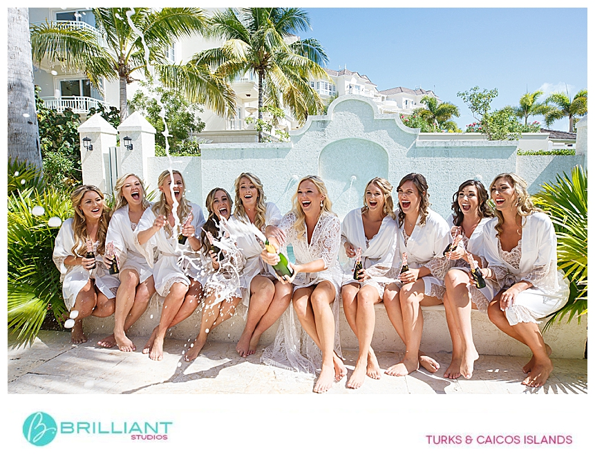 bride and bridesmaids during a destination wedding in turks and caicos