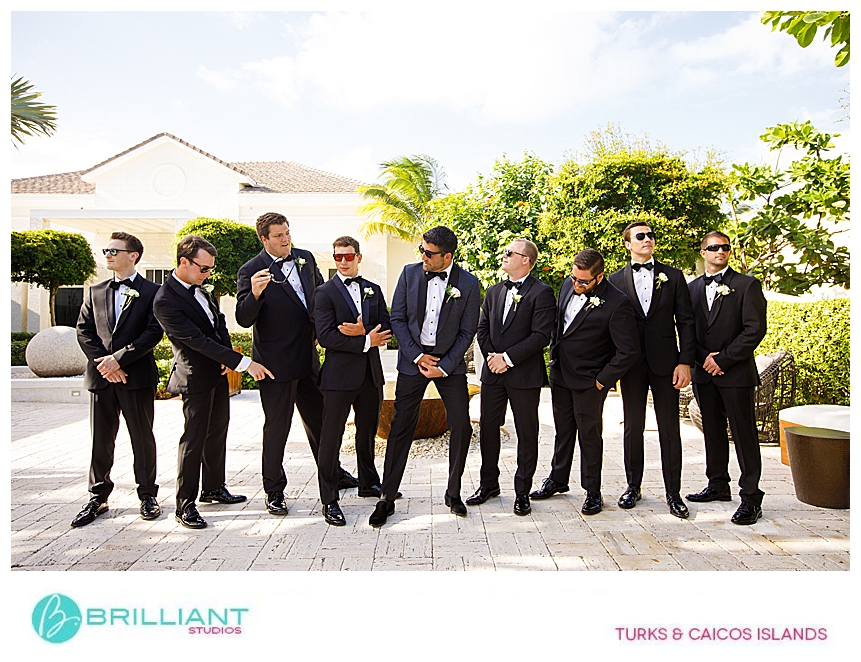 groom and groomsmen at a destination wedding at shore club turks and caicos