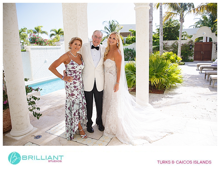 bride and parents in the turks and caicos islands