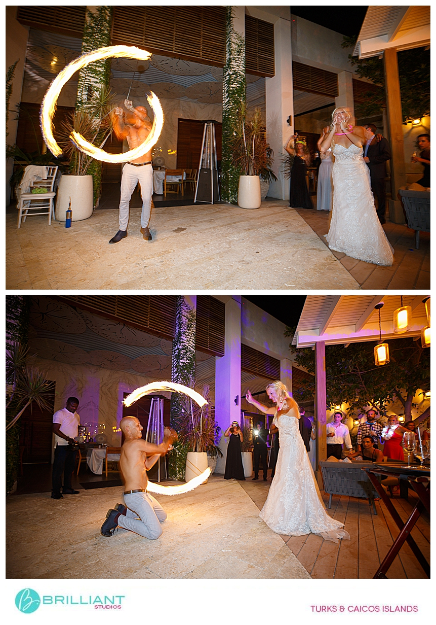 fire dancer in a turks and caicos wedding