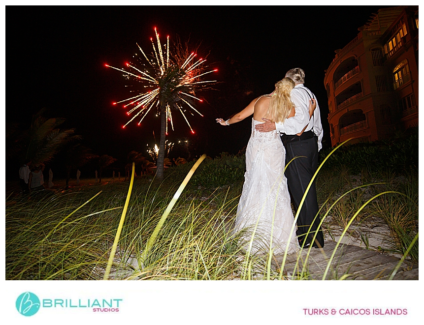 fireworks during a destination wedding in turks and caicos