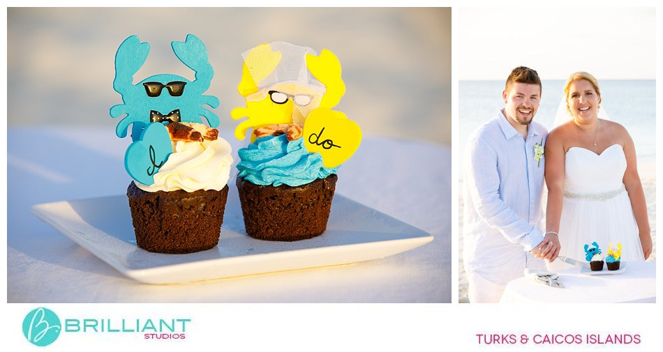 Beach wedding Turks and Caicos and cupcakes