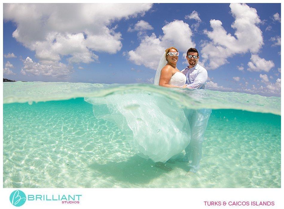 wedding couple in Caribbean Sea