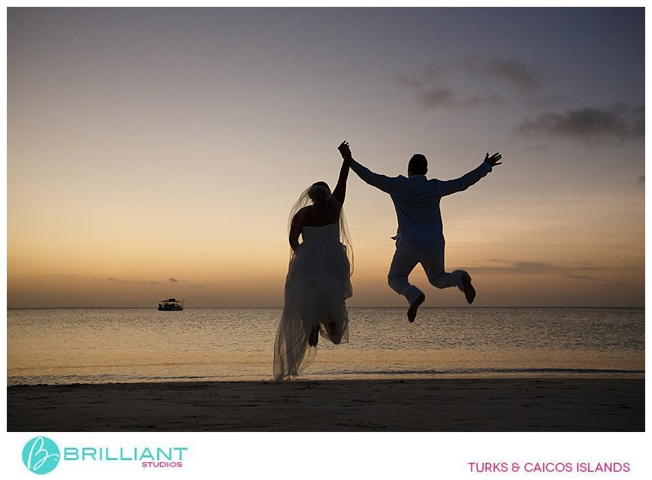 Sunset beach wedding in the Turks and Caicos Islands