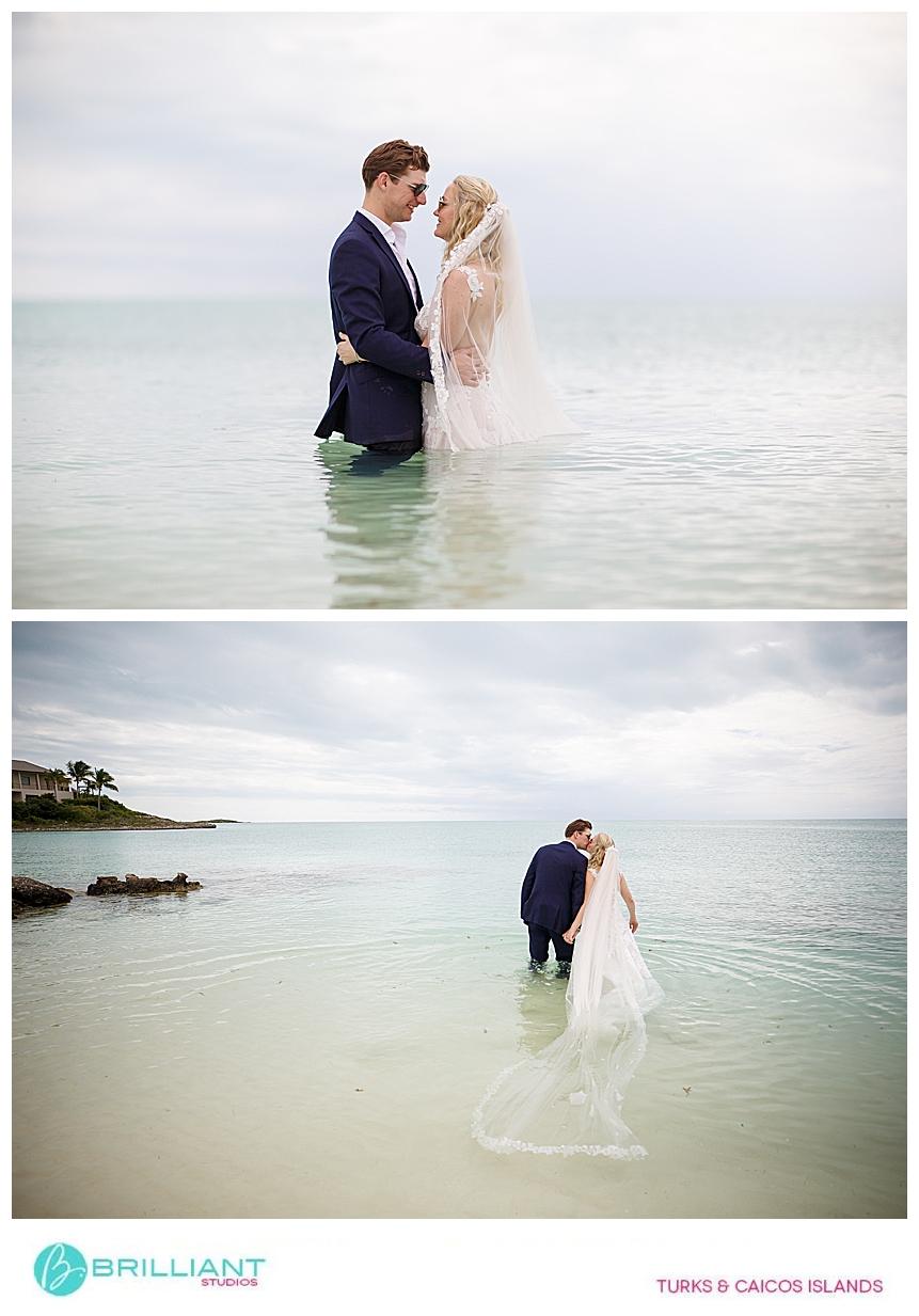 wedding couple doing a water photo shoot