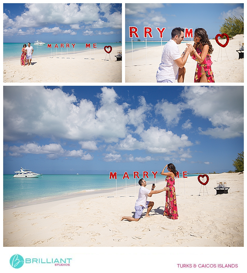 Couple getting engaged in the Turks and Caicos