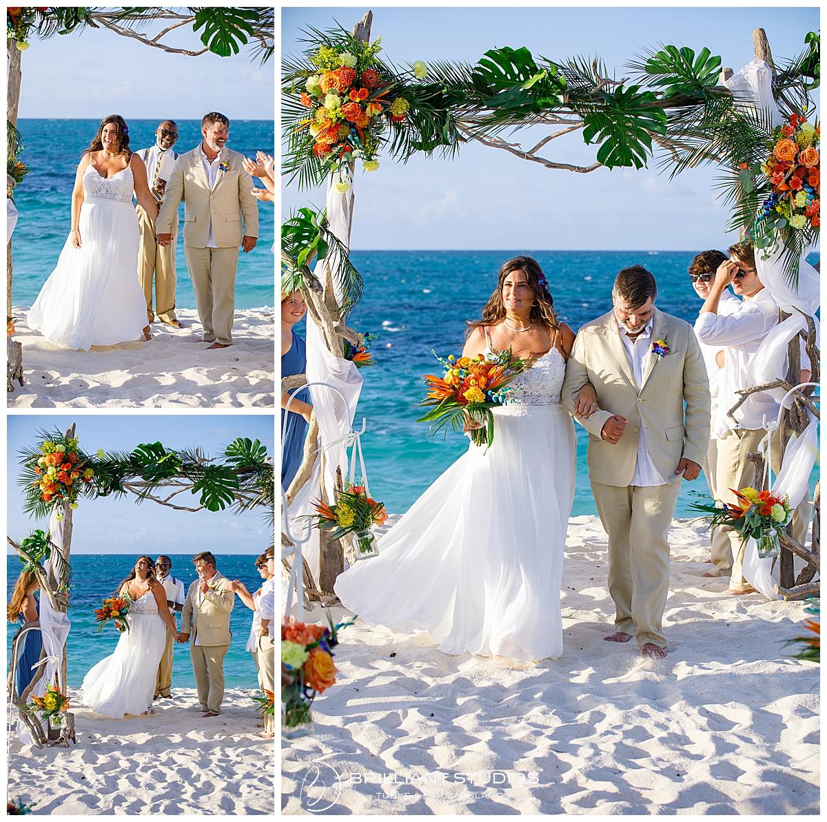 Turks and Caicos beach wedding ceremony