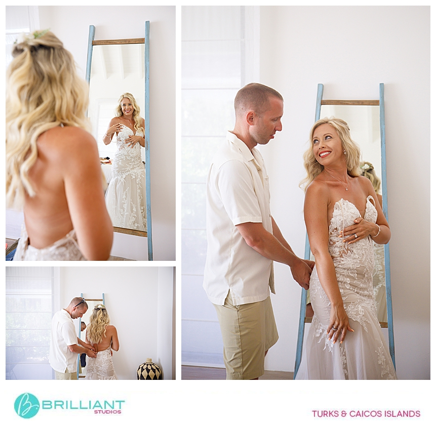 bride getting ready during a destination wedding at Ambergris Cay
