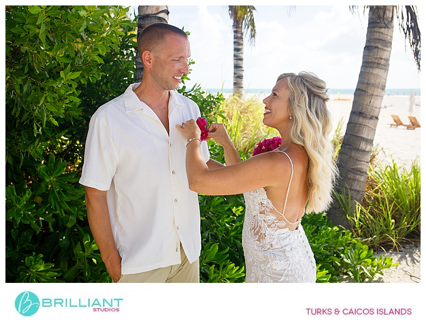 bride and groom at Ambergris Cay