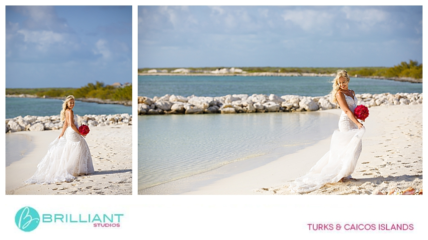bride walking on the beach in the Turks and Caicos Islands