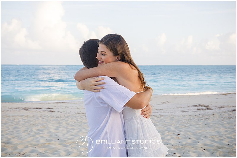Bride and groom at a beach wedding in the Turks and Caicos