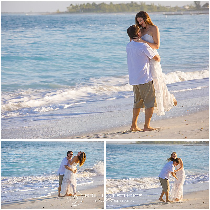 bride and groom having fun during their wedding in the Turks and Caicos