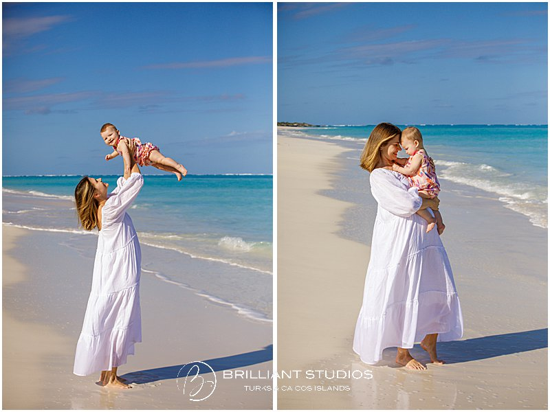 Mum and baby during a family portrait in Parrot Cay Turks and Caicos