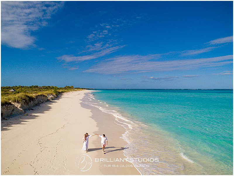 Drone family photo in Parrot Cay Turks and Caicos